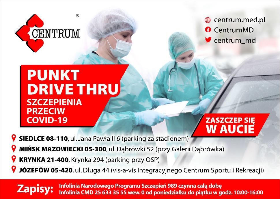 Obraz przedstawia dwie osoby stojące przy samochodzie, po lewej stronie jest czerwone logo centrum medyczno diagnostycnego, po prawej linki centrum, na środku jest napis drive thru szczepienia przeciw covid 19